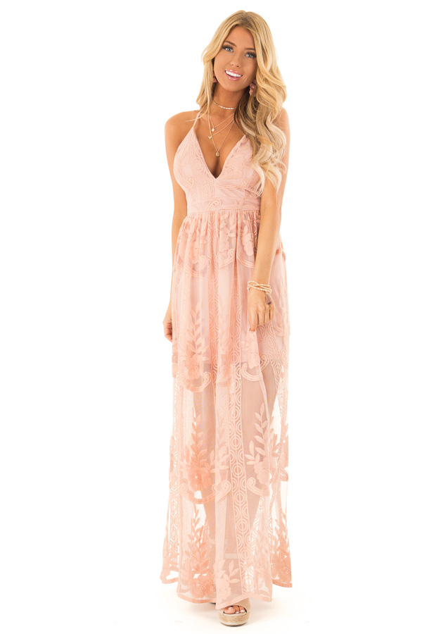 80dcffa8a6d2 Dusty Pink Embroidered Lace Maxi Dress with Crossed Straps front full body