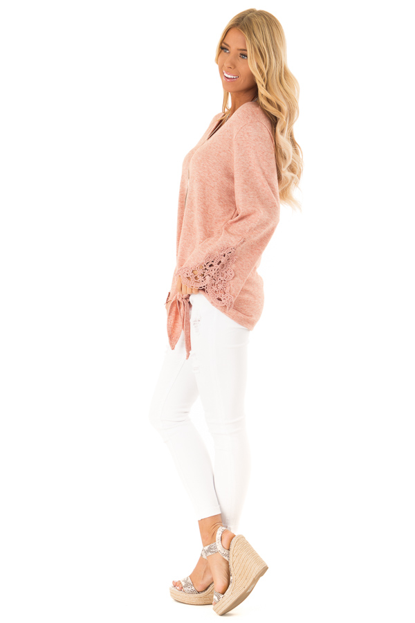 Pale Watermelon Top with Crochet Details and Front Tie side full body