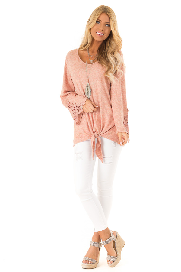 Pale Watermelon Top with Crochet Details and Front Tie front full body