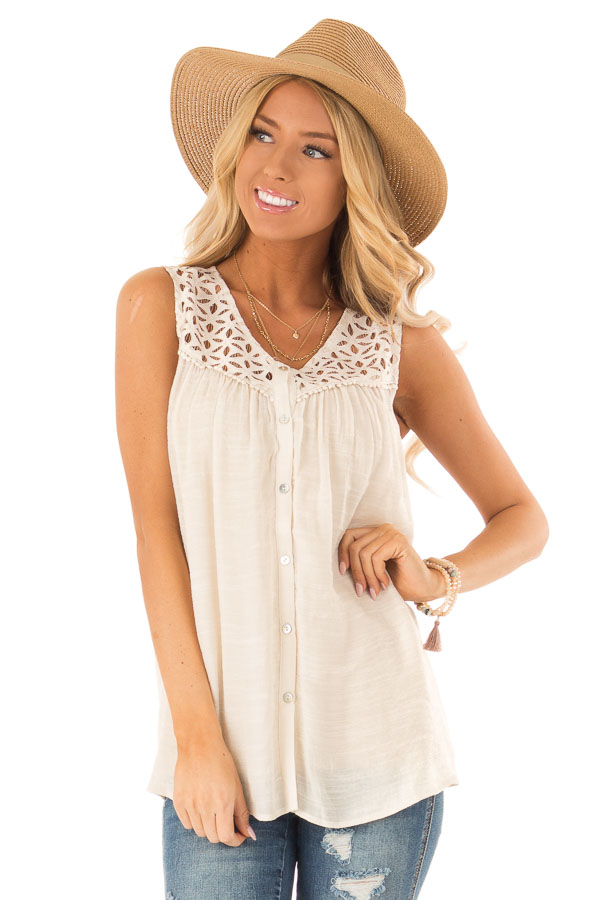 Cream Sleeveless V Neck Top with Lace Yoke and Buttons front close up