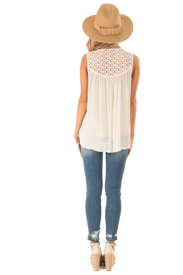 Cream Sleeveless V Neck Top with Lace Yoke and Buttons back full body