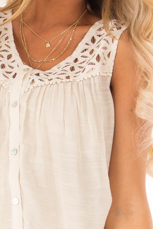 Cream Sleeveless V Neck Top with Lace Yoke and Buttons detail