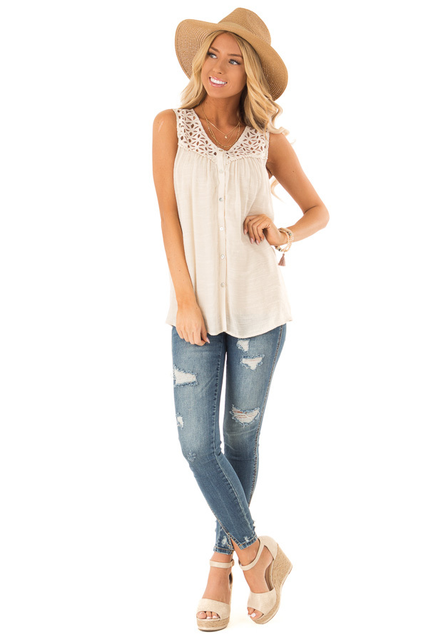 Cream Sleeveless V Neck Top with Lace Yoke and Buttons front full body