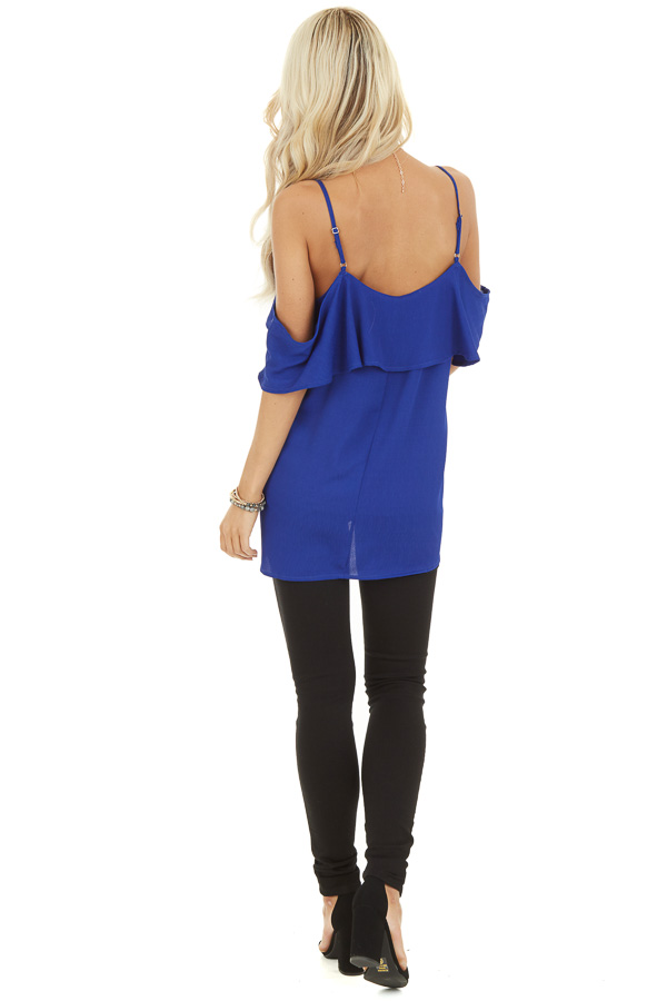 Cobalt Cold Shoulder Tank Top with Ruffle Detail back full body