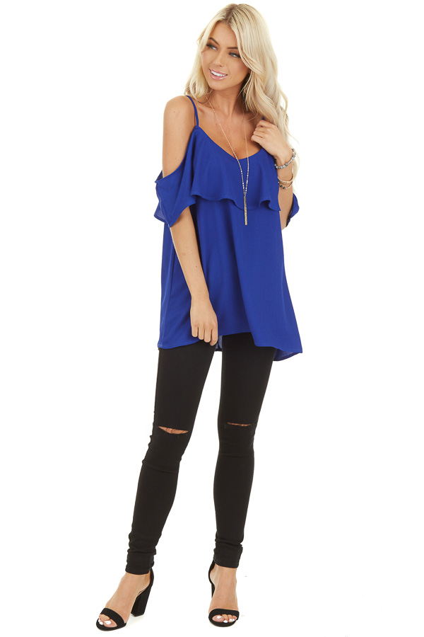 Cobalt Cold Shoulder Tank Top with Ruffle Detail front full body