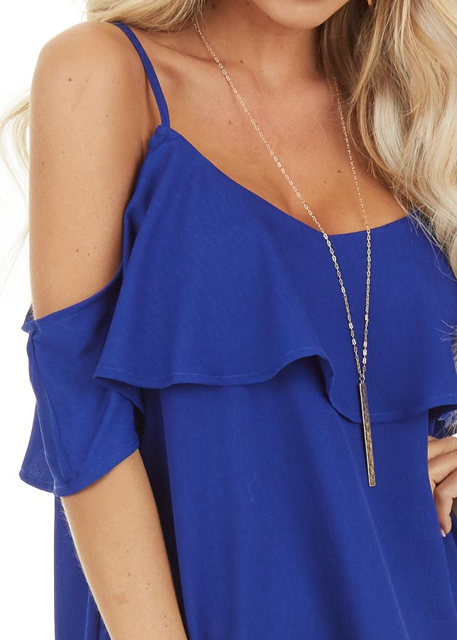 Cobalt Cold Shoulder Tank Top with Ruffle Detail detail