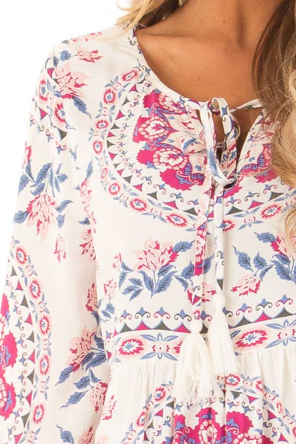 Ivory Multi Print V Neck Peasant Top with Tied Tassel Detail detail