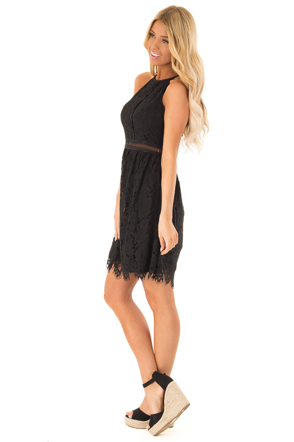 Ink Black Sleeveless Lace Dress with Sheer Details side full body