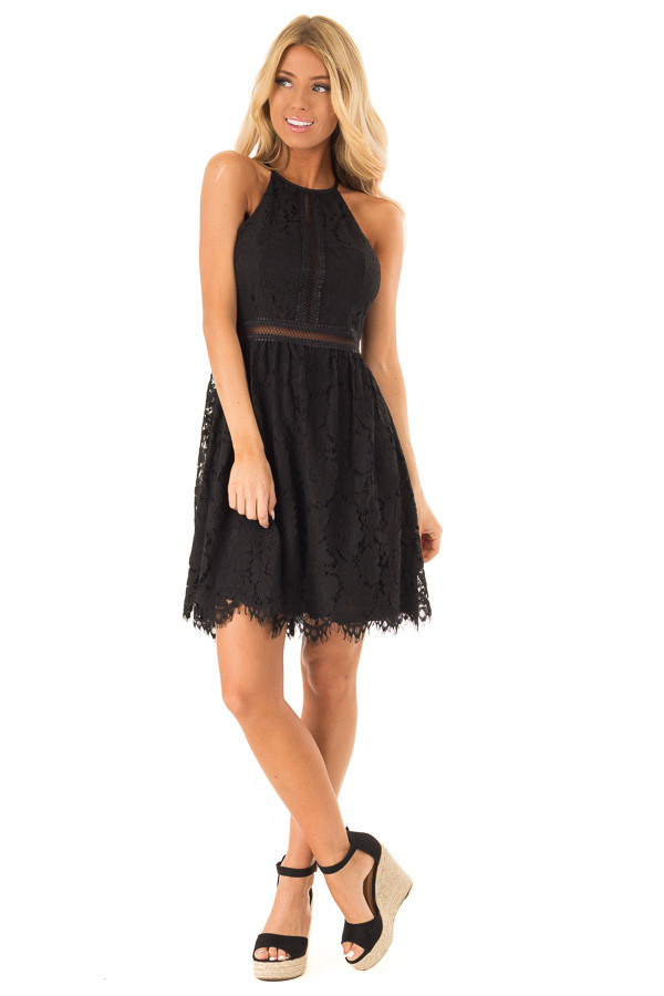 Ink Black Sleeveless Lace Dress with Sheer Details front full body