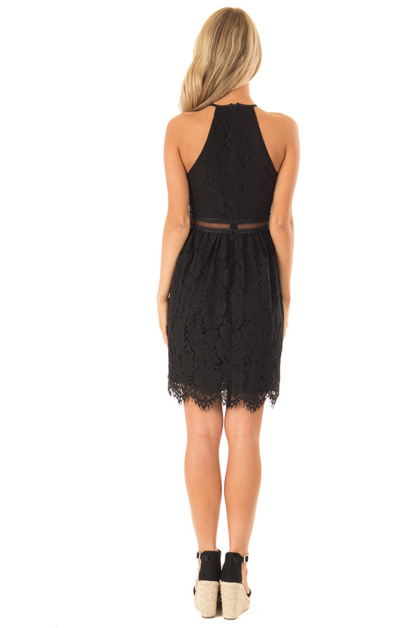 Ink Black Sleeveless Lace Dress with Sheer Details back full body