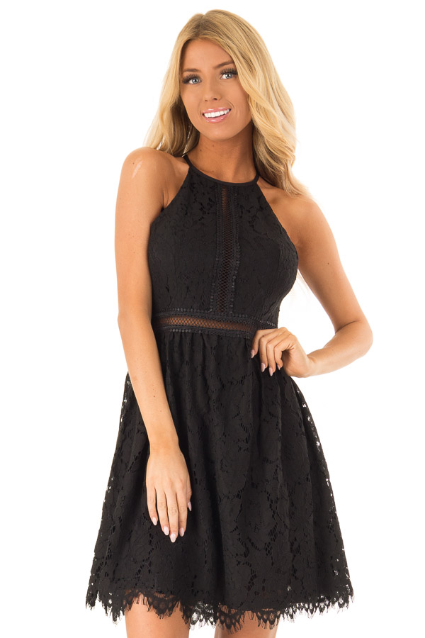 Ink Black Sleeveless Lace Dress with Sheer Details front close up