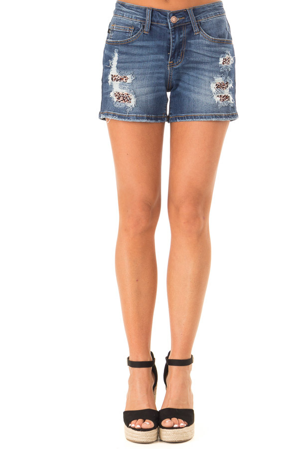 Dark Wash Distressed Denim Shorts with Leopard Patches front view