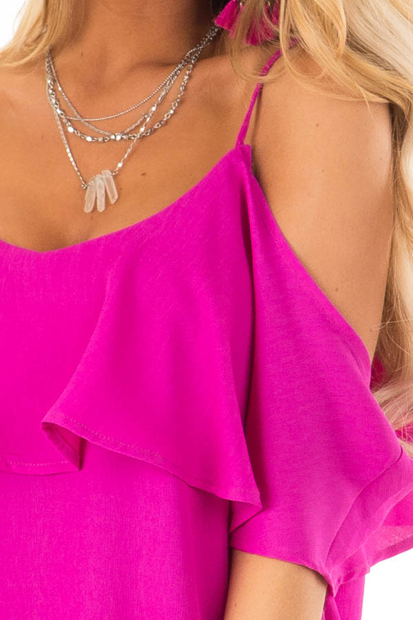 Fuchsia Cold Shoulder Tank Top with Ruffle Detail detail