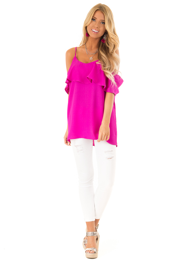 Fuchsia Cold Shoulder Tank Top with Ruffle Detail front full body