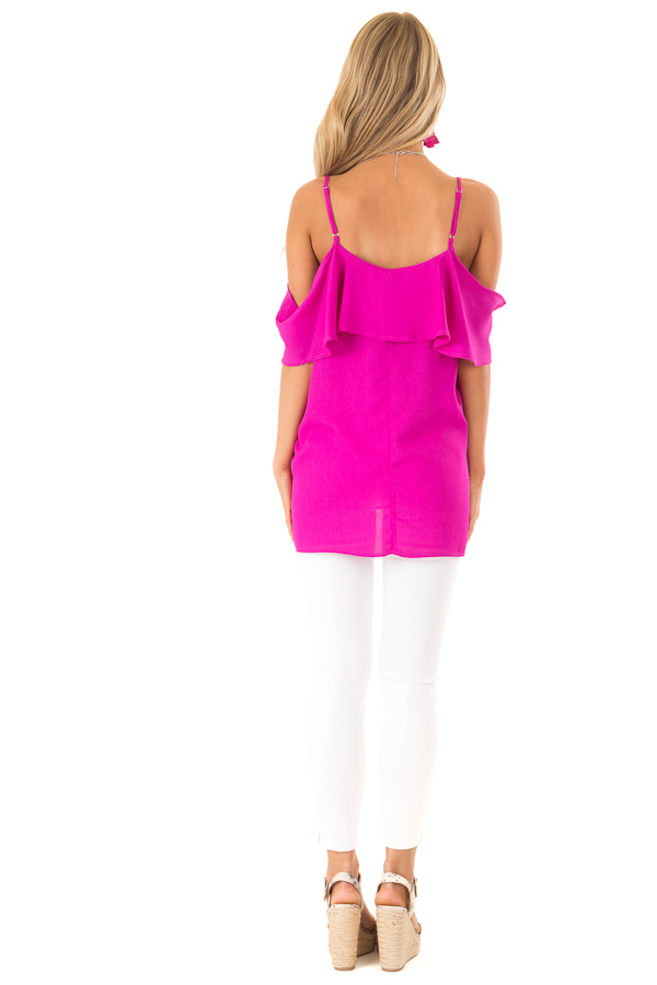 Fuchsia Cold Shoulder Tank Top with Ruffle Detail back full body