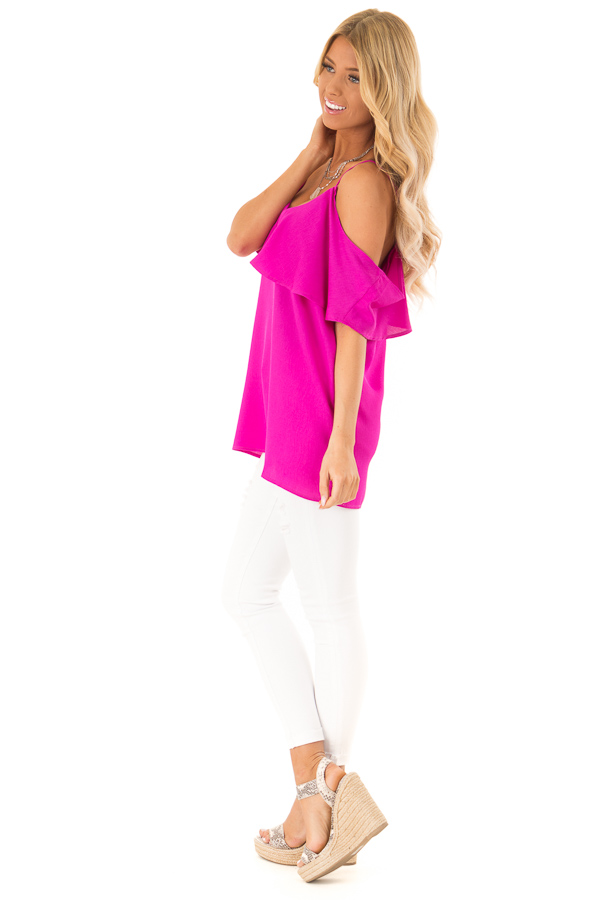 Fuchsia Cold Shoulder Tank Top with Ruffle Detail side full body