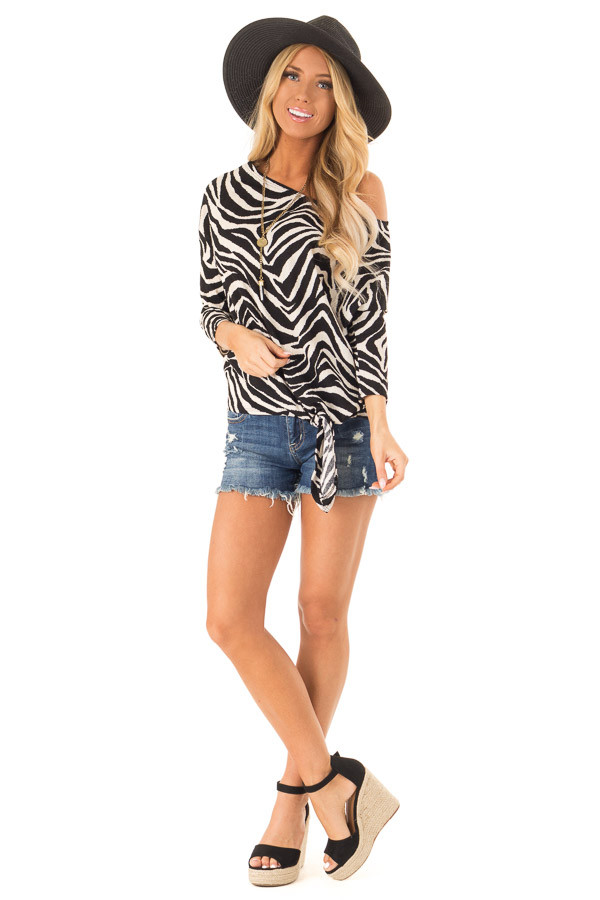 Ebony and Off White Zebra Print Off the Shoulder Top front full body