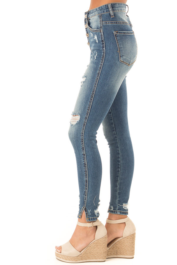 Medium Wash Distressed High Waisted Jeans with Slit Ends side view