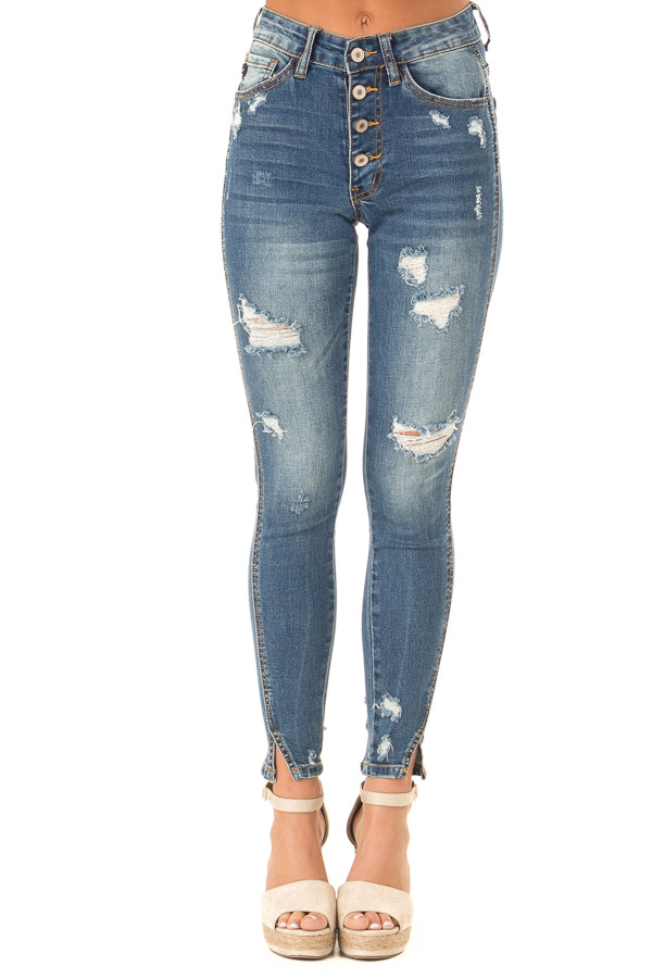 Medium Wash Distressed High Waisted Jeans with Slit Ends front view