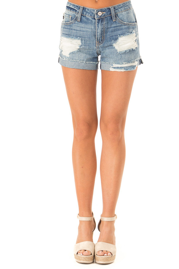 Light Wash Distressed Denim Shorts front view