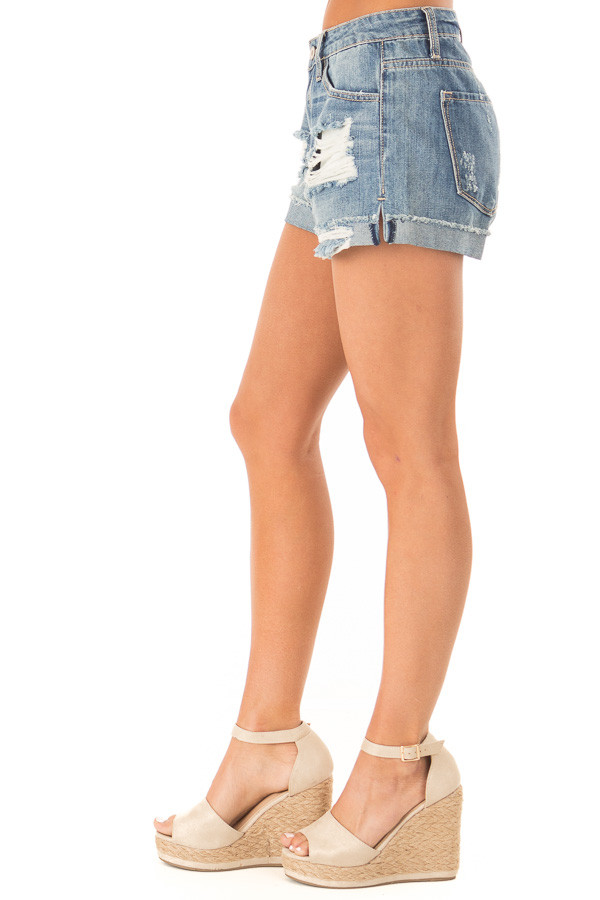 Light Wash Distressed Denim Shorts side view