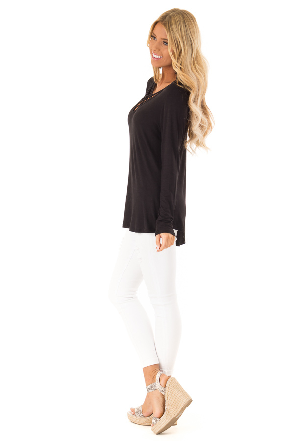Ink Black Long Sleeve Top with Criss Cross Detail side full body