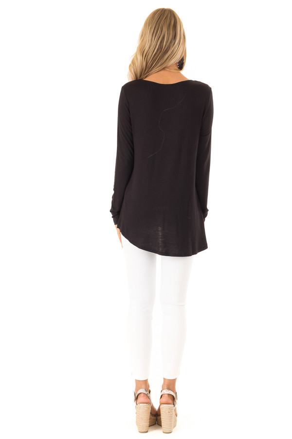 Ink Black Long Sleeve Top with Criss Cross Detail back full body