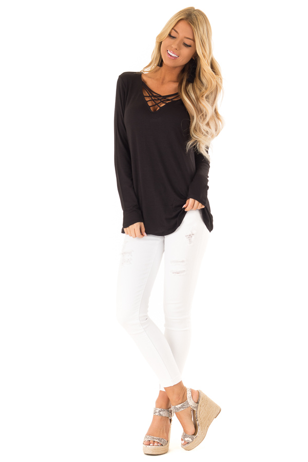 Ink Black Long Sleeve Top with Criss Cross Detail front full body