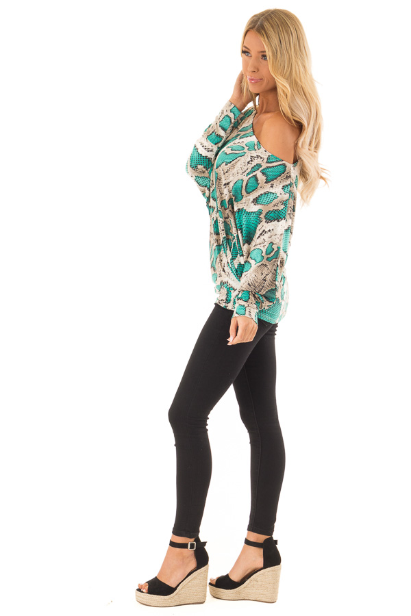 3aa3d78d004c3 ... front full body · Jade and Taupe Snake Print Off the Shoulder Long  Sleeve Top side full body ...