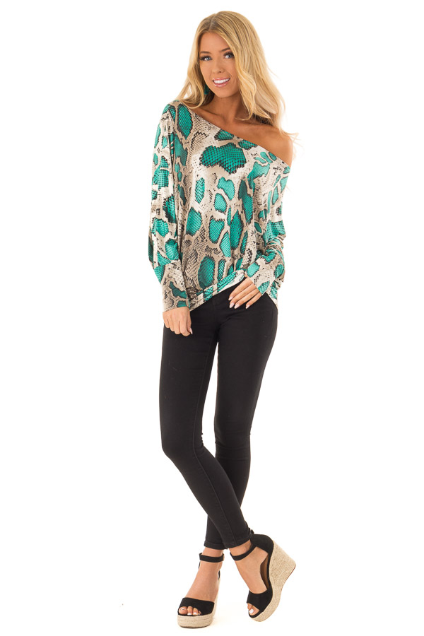 6481bbb49ee5b Jade and Taupe Snake Print Off the Shoulder Long Sleeve Top front full body  ...