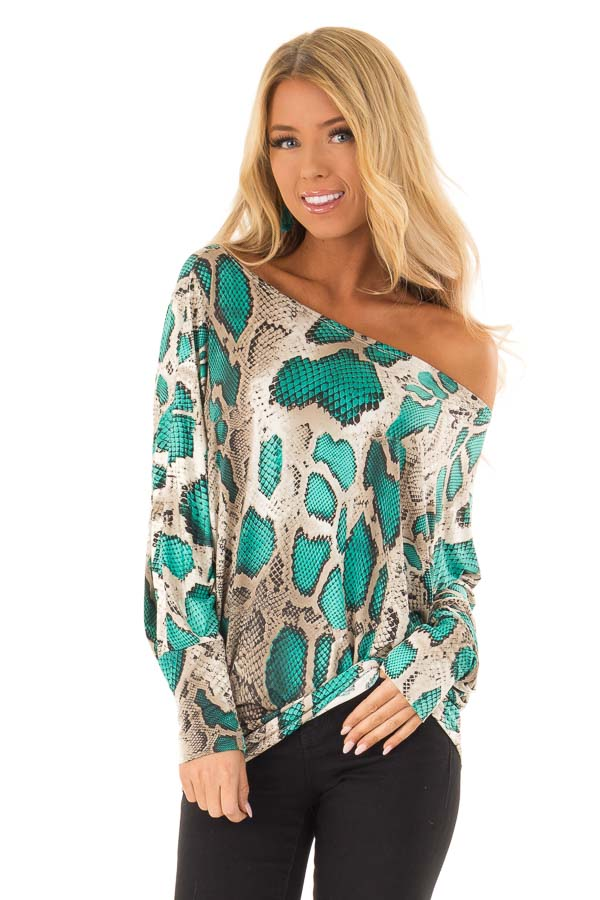 b5d6f79974c74 Jade and Taupe Snake Print Off the Shoulder Long Sleeve Top front close up