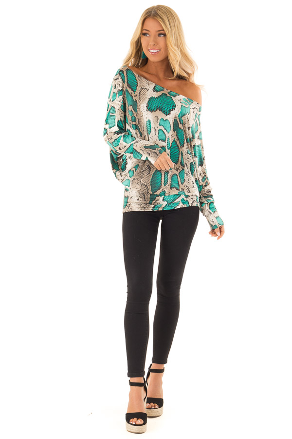76b02307b7017 ... Jade and Taupe Snake Print Off the Shoulder Long Sleeve Top front full  body ...
