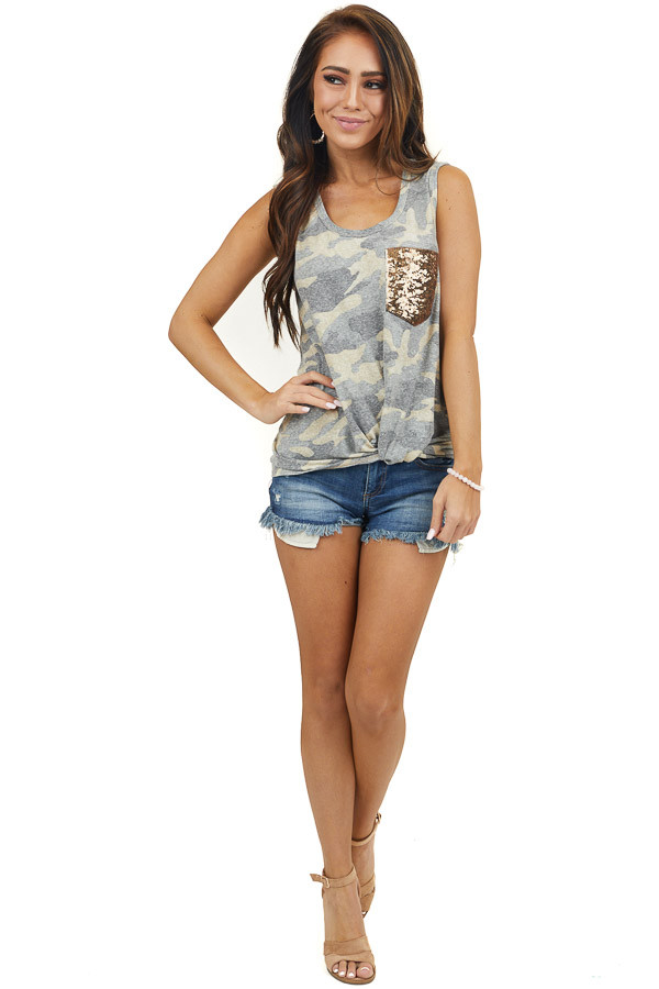 Camo Print Tank Top with Sequin Pocket and Front Knot Detail