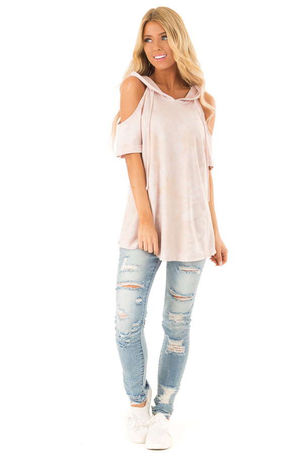 c469c106baedd9 ... Pale Pink Tie Dye Cold Shoulder Hooded Top front full body ...