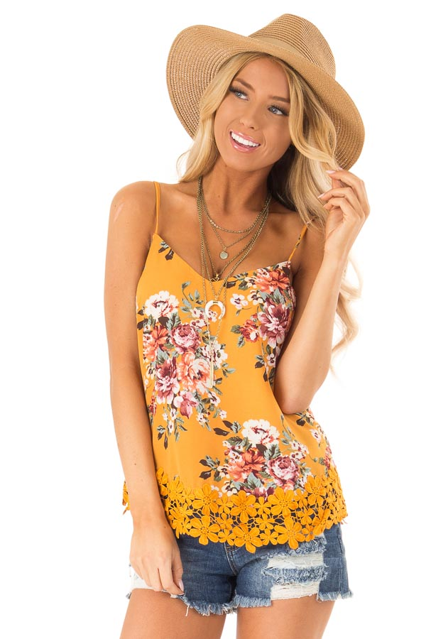 Golden Floral V Neck Spaghetti Strap Tank with Lace Hemline front close up