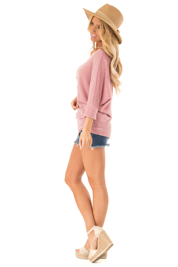 Mauve Textured Off the Shoulder Dolman Top side full body