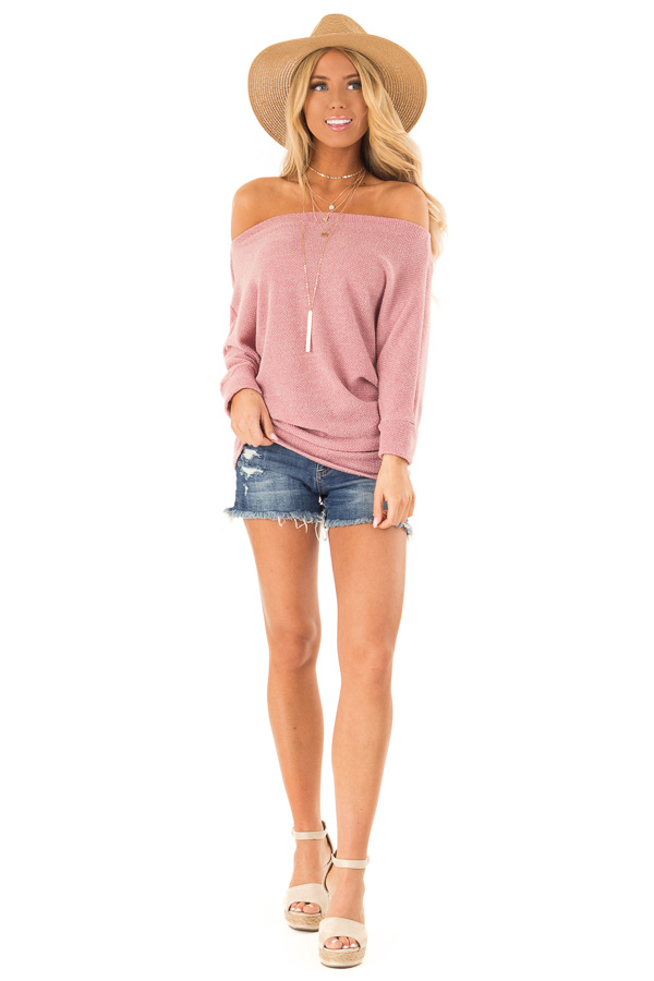 Mauve Textured Off the Shoulder Dolman Top front full body