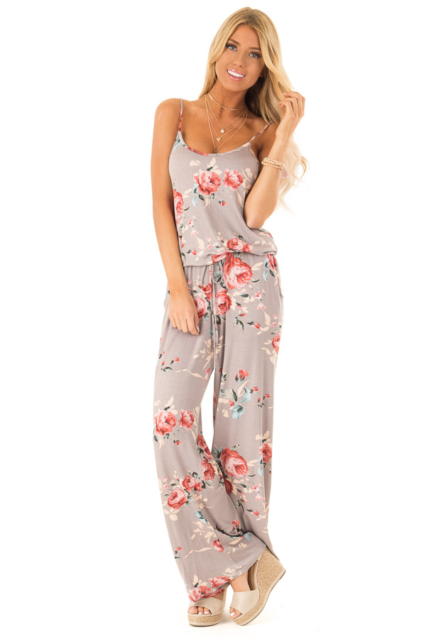 Mocha Floral Print Jumpsuit with Waist Tie and Pockets front close up