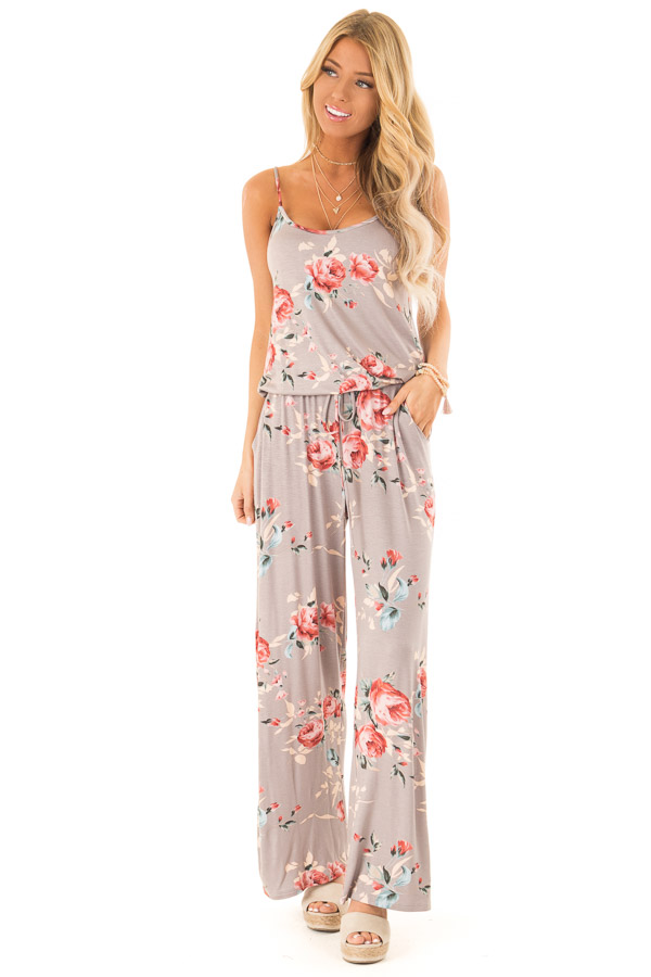 Mocha Floral Print Jumpsuit with Waist Tie and Pockets front full body