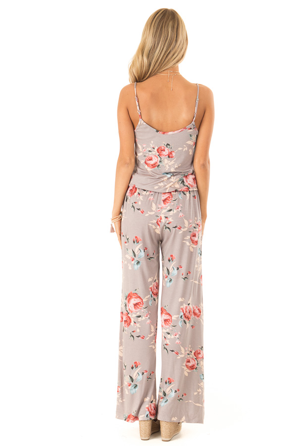 Mocha Floral Print Jumpsuit with Waist Tie and Pockets back full body