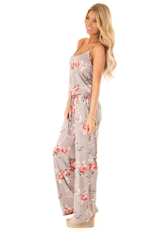 Mocha Floral Print Jumpsuit with Waist Tie and Pockets side full body