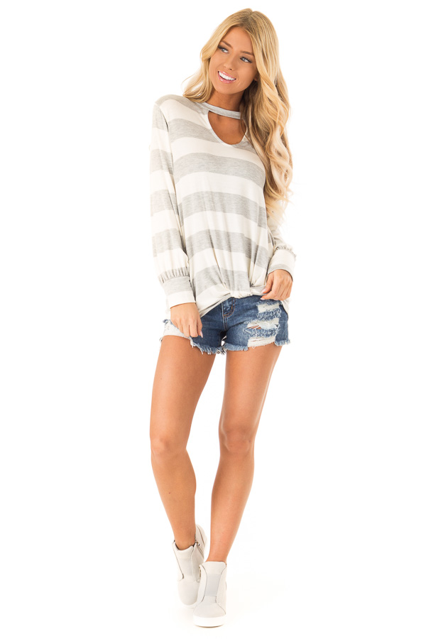 Heather Grey and White Striped Top with Twist Detail front full body