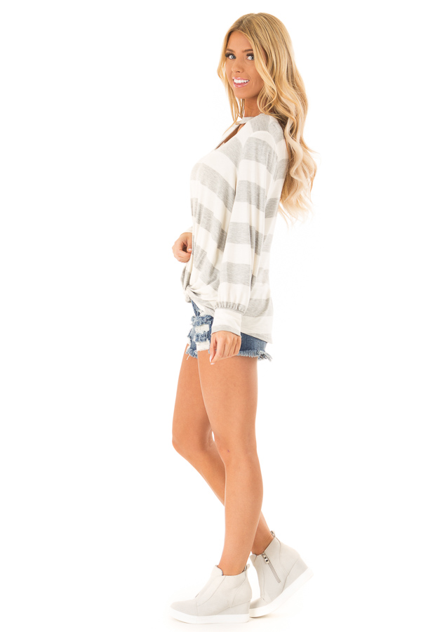 Heather Grey and White Striped Top with Twist Detail side full body