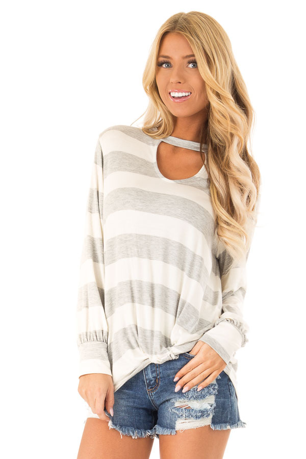 Heather Grey and White Striped Top with Twist Detail front close up