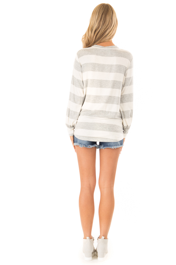 Heather Grey and White Striped Top with Twist Detail back full body