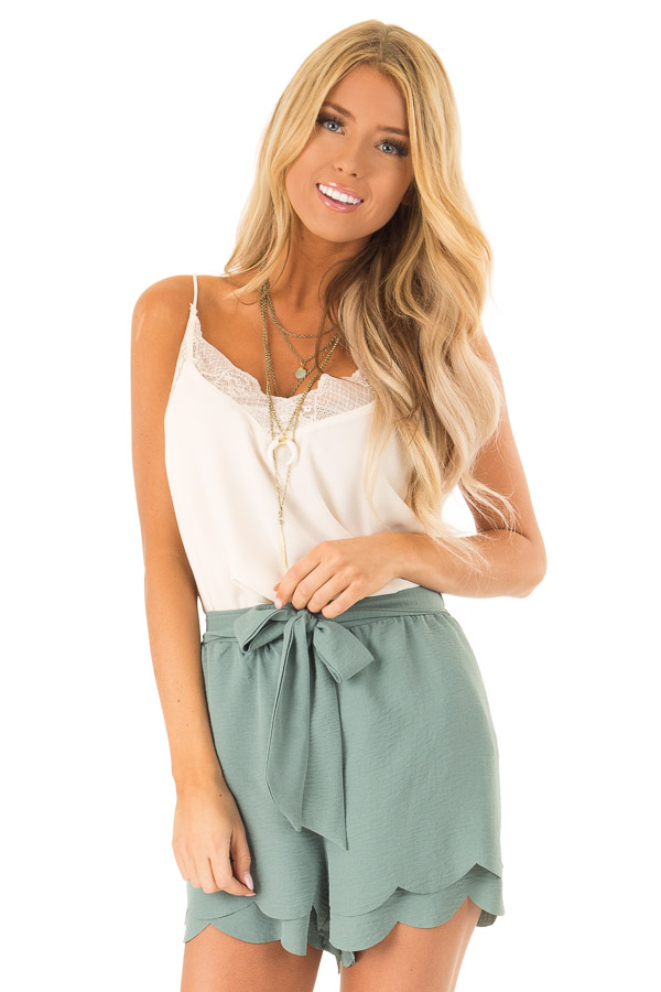 2e5bd7ffc740 Teal Scalloped Hem Shorts with Bow Waist Tie - Lime Lush Boutique