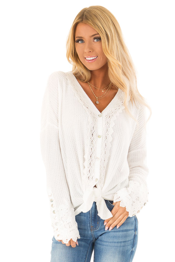 0398783e1f1 Off White Waffle Knit Button Up Top with Lace Details - Lime Lush ...