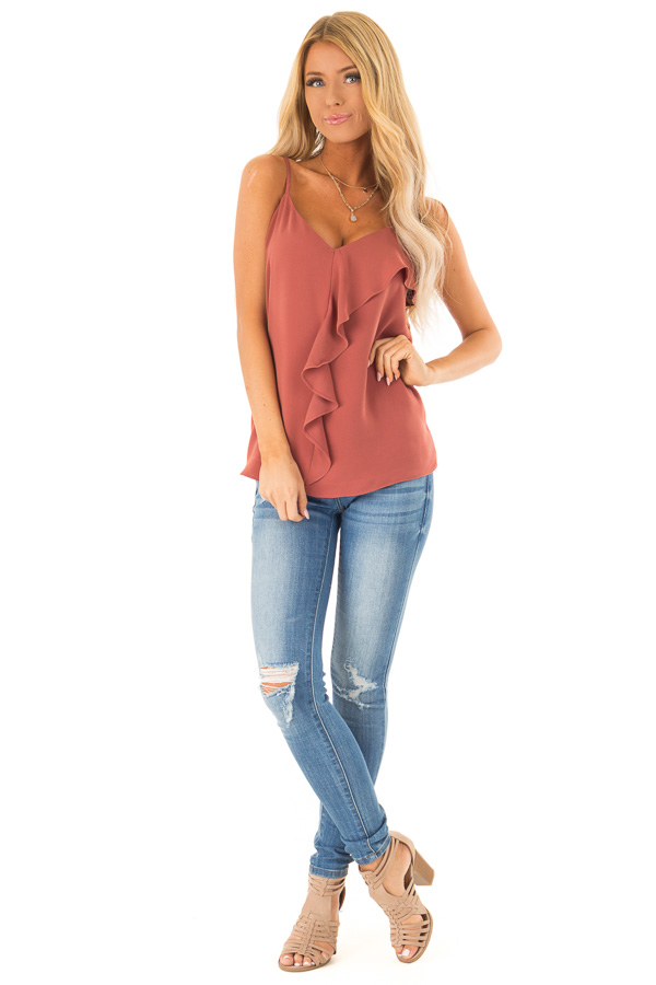Antique Marsala Tank Top with Asymmetrical Ruffle Detail front full body