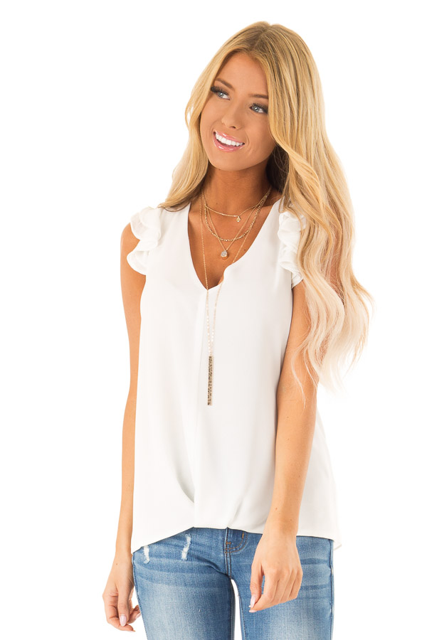 c304ed048f934 Porcelain White V Neck Top with Short Layered Ruffle Sleeves front close up