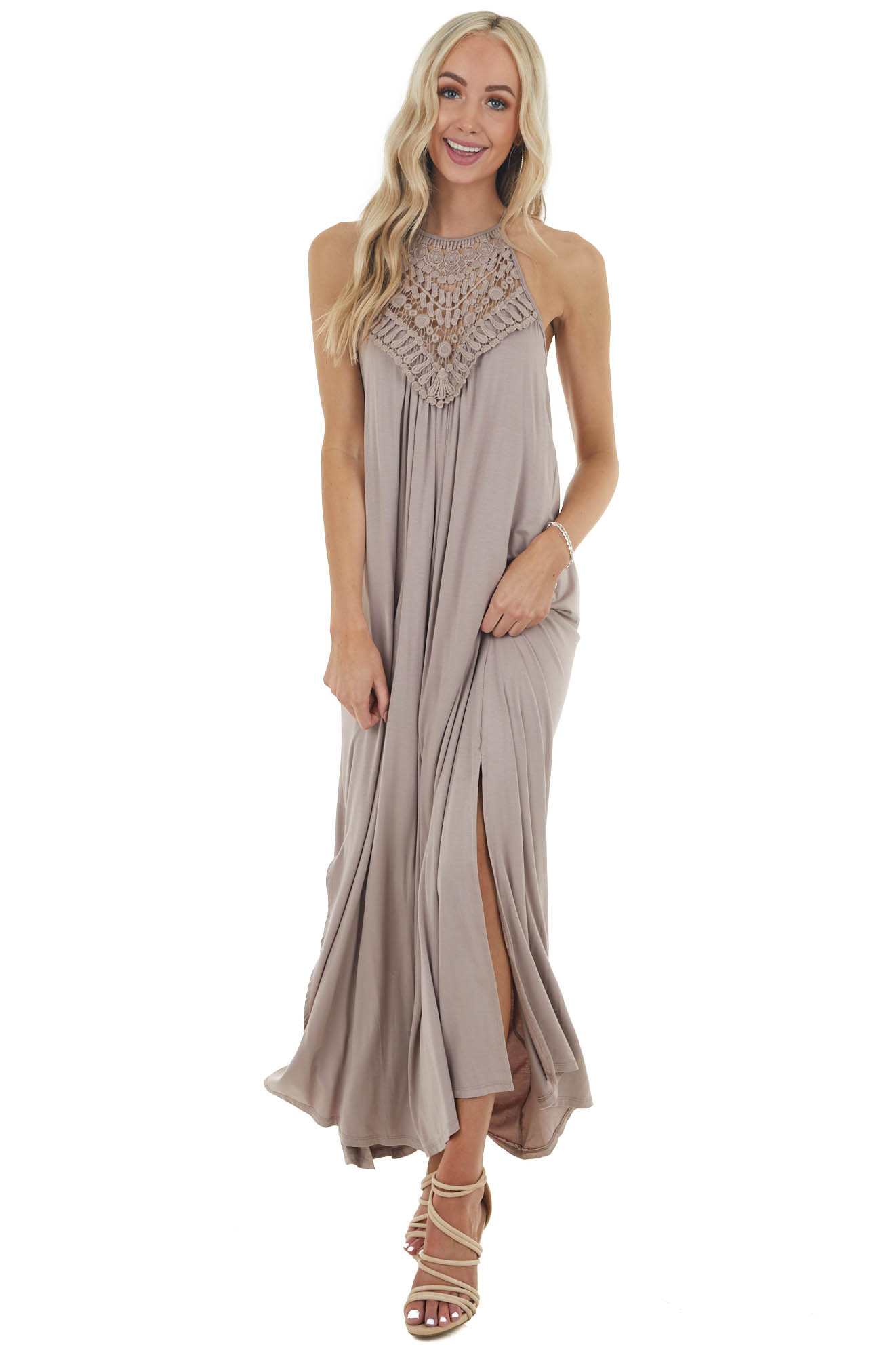 Mocha Sleeveless Maxi Dress with Front Lace Detail